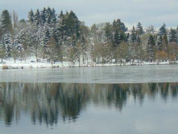 Partially frozen Green Lake in winter, Seattle